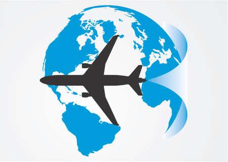 Aviation around the globe. Vector, illustration Vector