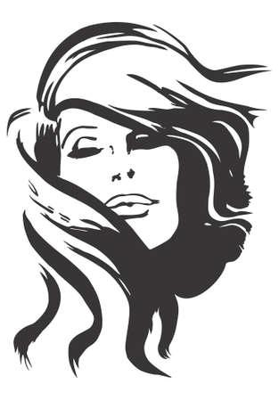 peluqueria: Dise�o modelo de cara, vector, ilustraci�n