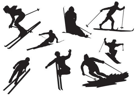 skiers: Silhouette of skiers, vector, illustrations Illustration