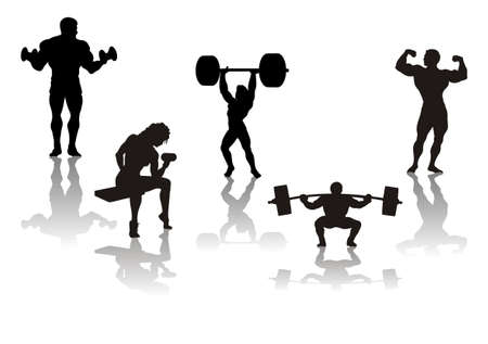 strong women: silhouette of athletes from weights, vector