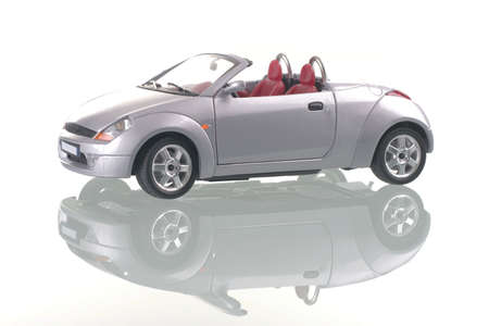 porting: Cinereous car with reflection. Shot of the studio. Stock Photo