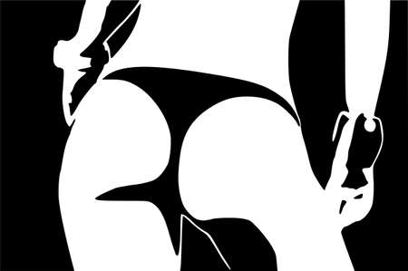 Design of sensual part of the female body in black and white vector