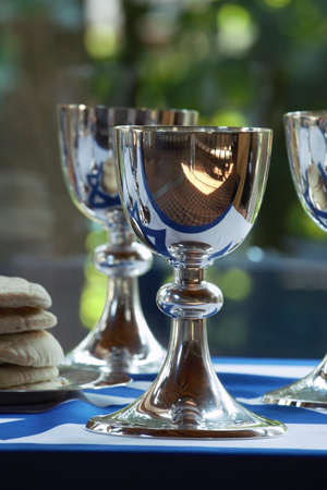 chalices: Silver chalices with the flag of Israel Stock Photo