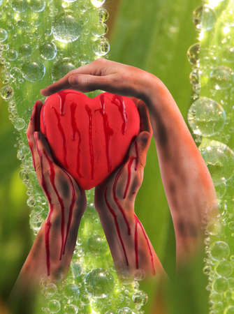 three hands: A red heart with three hands
