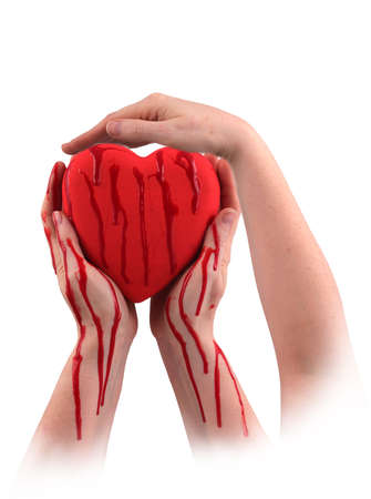 feeble: A red heart with three hands