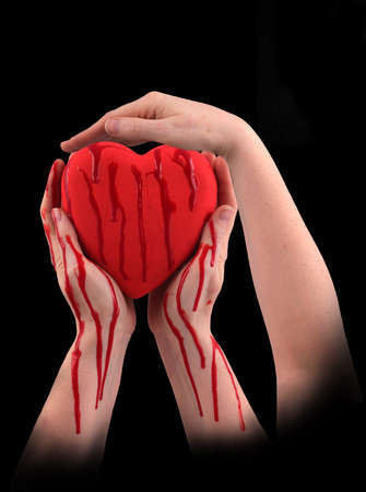 lifeblood: A red heart with three hands