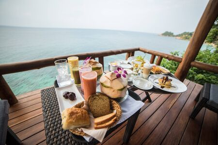 Continental breakfast by the beach in Koh Samui, Thailand