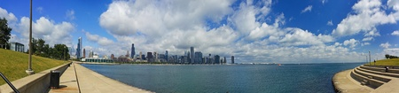 stitched-together panoramic view of the Chicago, Illinois skyline with Lake Michigan