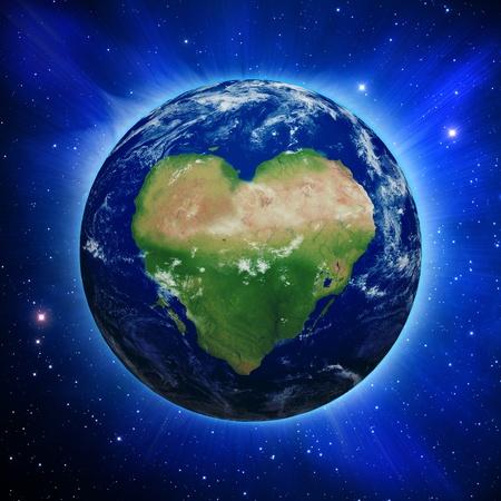 amor al planeta: El planeta Tierra con los continentes en forma de coraz�n y de las nubes en un cielo estrellado