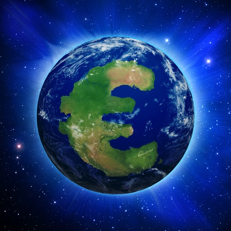 Planet Earth with Euro symbol shaped continent and clouds over a starry sky