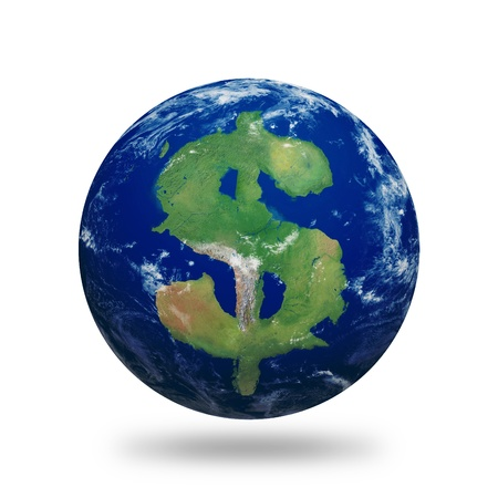 Planet Earth with dollar sign shaped continents and clouds over a starry sky.Contains clipping path of planet.