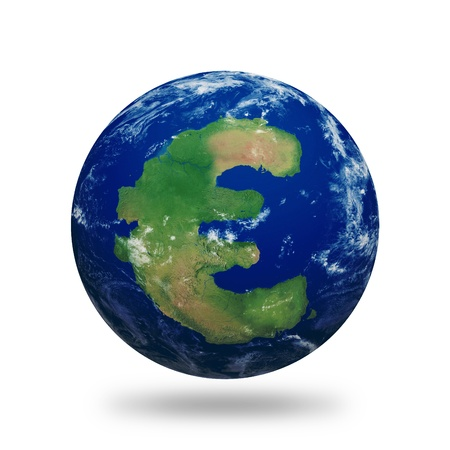 Planet Earth with Euro symbol shaped continent and clouds over a starry sky.Contains clipping path of planet.