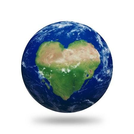 amor al planeta: Planeta tierra con el coraz�n en forma de continentes y nubes sobre un cielo estrellado.Contiene el trazado de recorte del planeta.