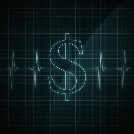 Hartslag monitor weergegeven: dollarteken. Concept voor financiële gezondheid.