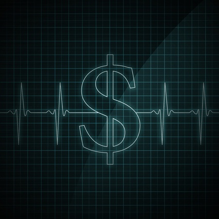 rythm: Heart beat monitor showing Dollar symbol. Concept for financial health.