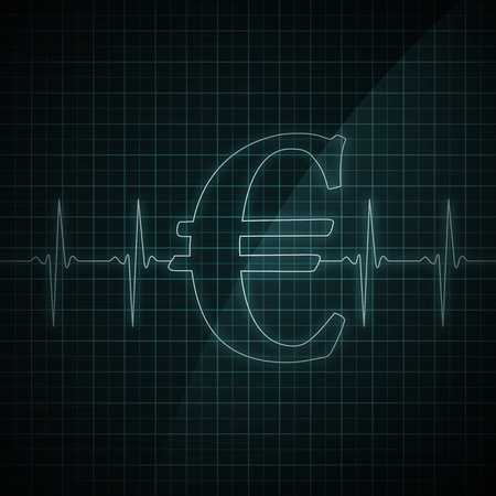 Heart beat monitor showing Euro symbol. Concept for financial health.