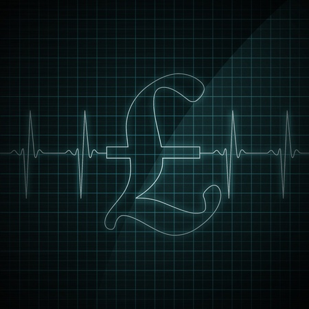 Heart beat monitor showing Pound symbol. Concept for financial health. Stock Photo