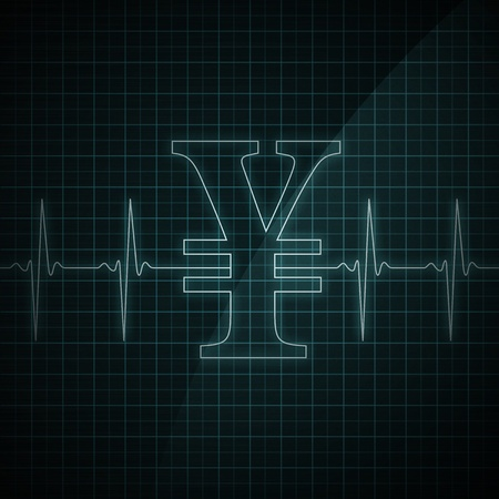 Heart beat monitor showing Yen symbol. Concept for financial health.