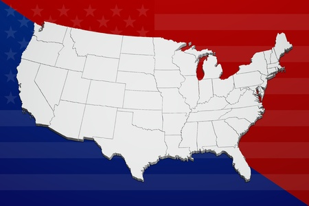Map of the continental United States in 3D reflecting the concept of political division.