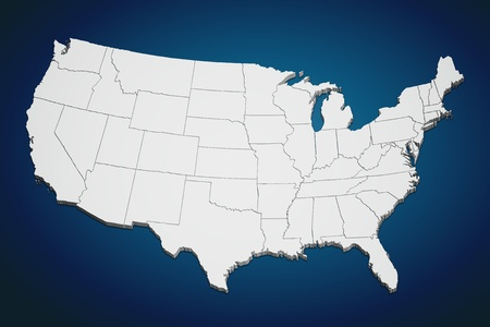 Map of the continental United States in 3D on blue background.