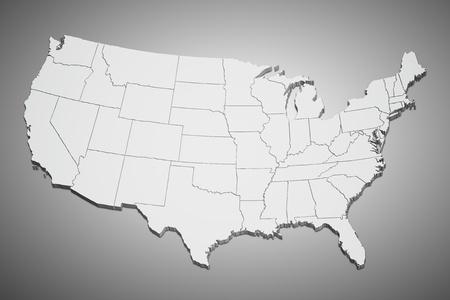 Kaart van de continentale Verenigde Staten in 3D op een grijze achtergrond.