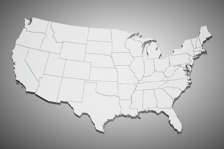 united states map: Map of the continental United States in 3D on gray background.