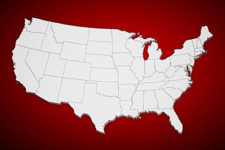 Kaart van de continentale Verenigde Staten in 3D op rode achtergrond. Stockfoto