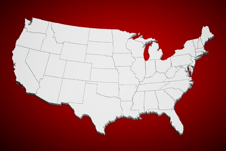 Map of the continental United States in 3D on red background. Фото со стока