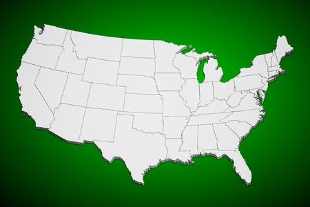 Kaart van de continentale Verenigde Staten groene achtergrond. Stockfoto
