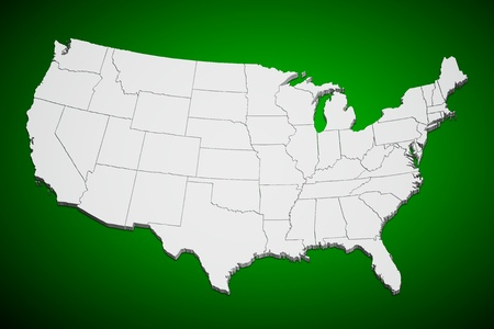 state boundary: Map of the continental United States green background. Stock Photo