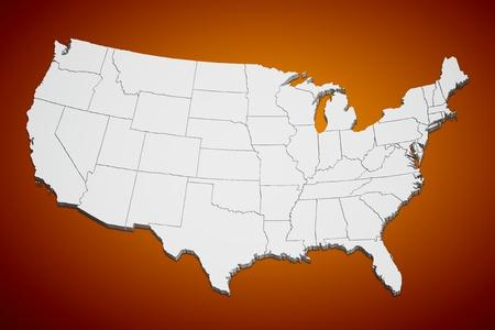 Kaart van de continentale Verenigde Staten oranje achtergrond. Stockfoto