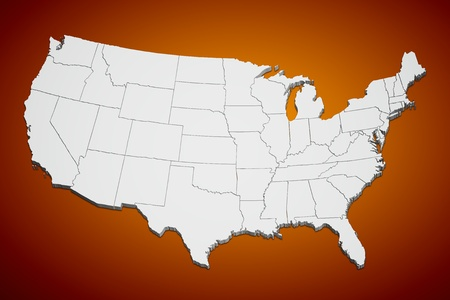 usa map: Map of the continental United States orange background. Stock Photo
