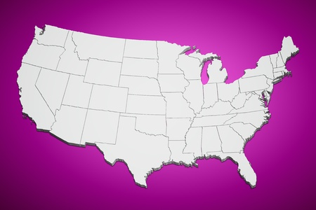 Map of the continental United States pink background.