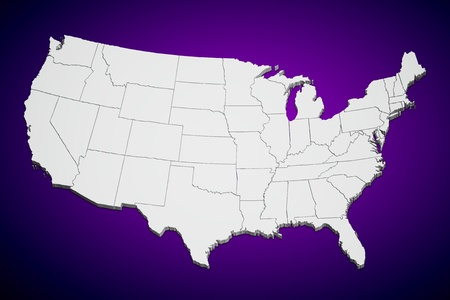 continental united states: Map of the continental United States purple background.