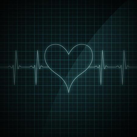 Gezonde hartslag op de monitor weergegeven. Medische illustratie. Hartvorm. Stockfoto