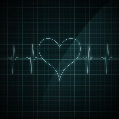 heart rate: Healthy heart beat on monitor screen. Medical illustration. Heart shape.