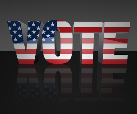 VOTE with flag wrapped over it to promote voting in the presidential election. Patriotic image. Stock Photo - 10313454