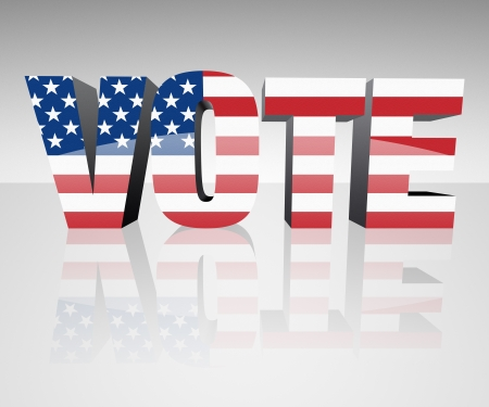 VOTE with flag wrapped over it to promote voting in the presidential election. Patriotic image. Stock Photo - 10313455