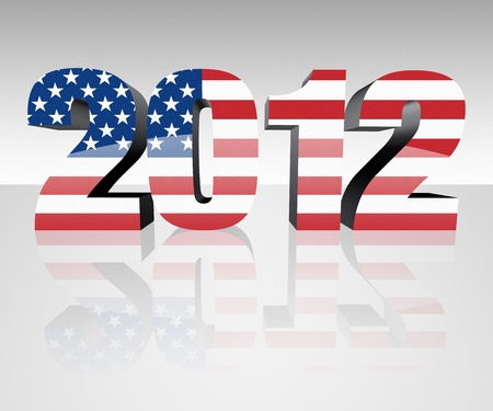Year 2012 with flag wrapped over it to promote voting in the presidential election. Patriotic image. Stock Photo - 10320492