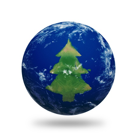 Planet Earth with Christmas tree shaped continents and clouds over a starry sky.