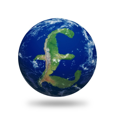 british money: Planet Earth with British Pound sign shaped continents and clouds over a starry sky.