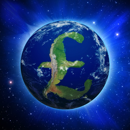 Planet Earth with British Pound sign shaped continents and clouds over a starry sky.