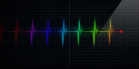 pulse trace: Horizontal Colorful Pulse Trace Heart Monitor
