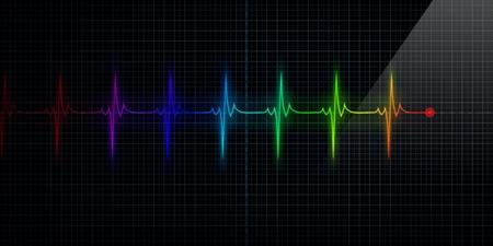 Horizontal Colorful Pulse Trace Heart Monitor
