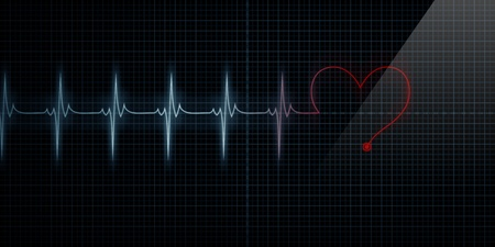 Horizontal Pulse Trace Heart Monitor with the symbol of a heart inline with the pulse as the line turns red.