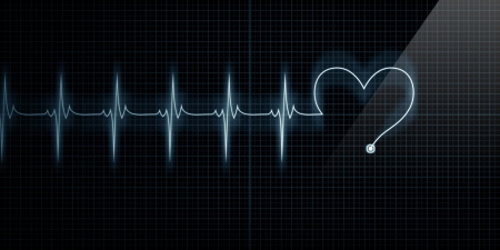 rhythm: Horizontal Pulse Trace Heart Monitor with the symbol of a heart inline with the pulse.