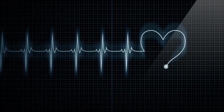 ritme: Horizontale Pulse Trace Heart Monitor met het symbool van een hart in lijn met de pols. Stockfoto