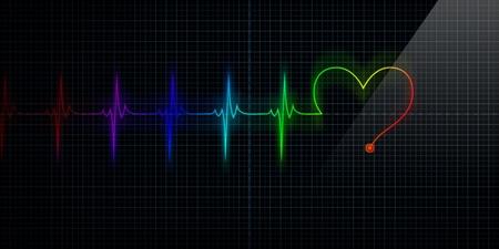 Orizzontale e colorato Pulse traccia cuore Monitor con il simbolo di un cuore in linea con il polso. Archivio Fotografico - 10385359