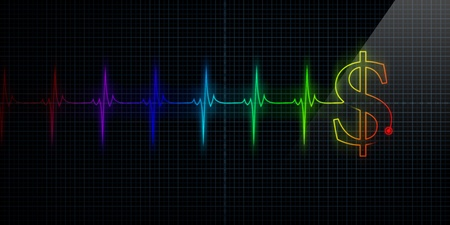 Colorful Horizontal Pulse Trace Heart Monitor with a dollar sign in line. Stock Photo