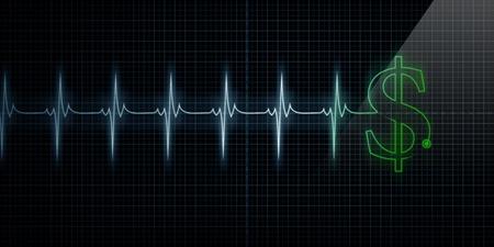 가로 펄스 추적 심장 모니터 녹색 달러 기호로 라인. 스톡 콘텐츠 - 10413743